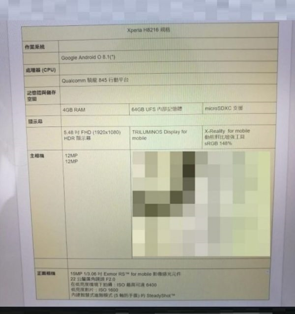 sony h8216 specification 1
