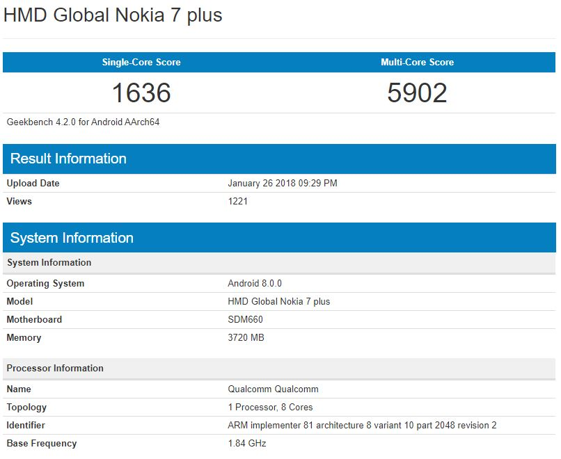 Nokia 7 spotted in GeekBench