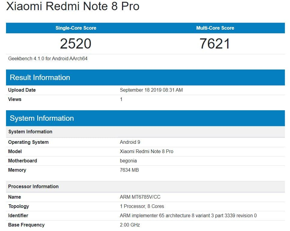 Geekbench Redmi Note 8 Pro for MTK G90T