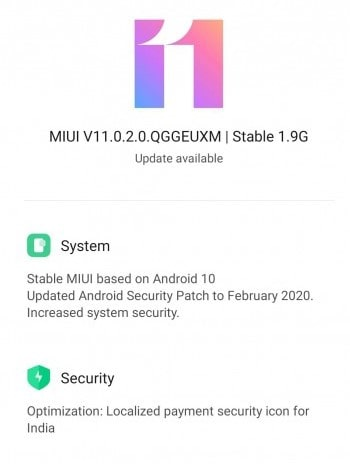 Global MIUI V11.0.2.0.QGGEUXM for Redmi Note 8 Pro
