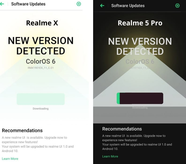 realme ui update for X and 5 Pro