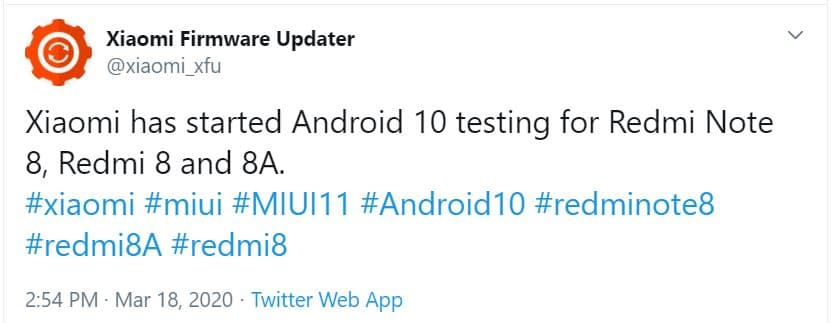 redmi 8 8a note 8 android 10 update tweet