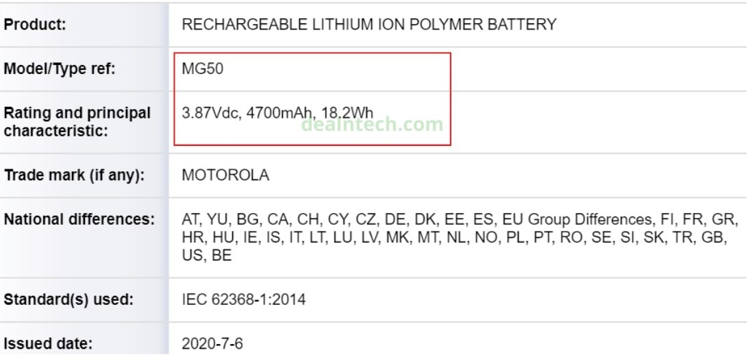 MG50 Battery spotted on Danish certification