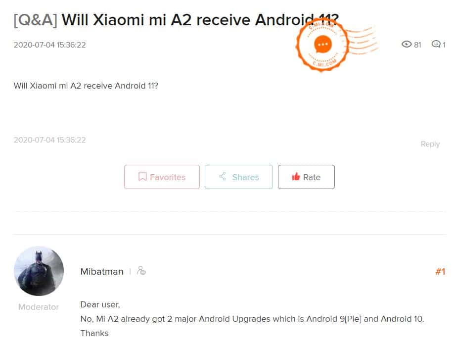 Mi A2 and Mi A2 Lite eligible for Android 11 or not