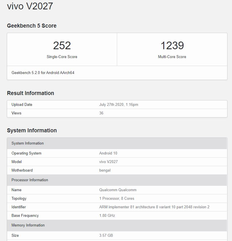 V2027 has also appeared on the Geekbench