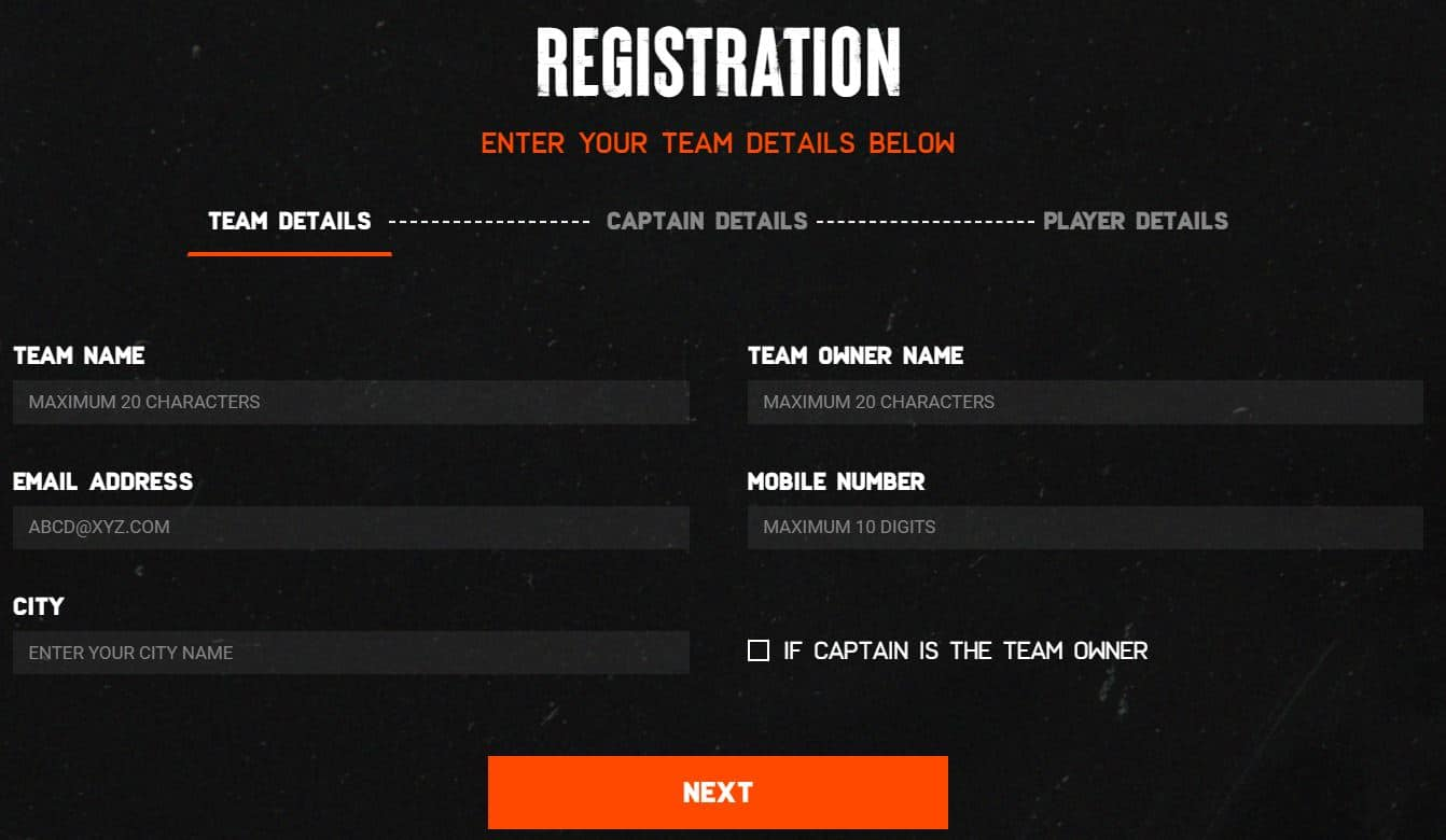 BATTLEGROUNDS MOBILE INDIA SERIES 2021 form