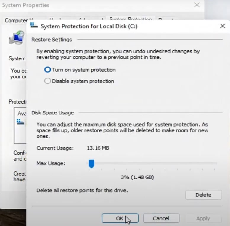 Enable system restore on Windows 11