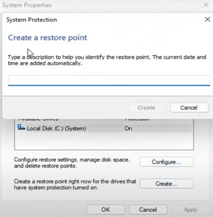 create a system restore point in Windows 11