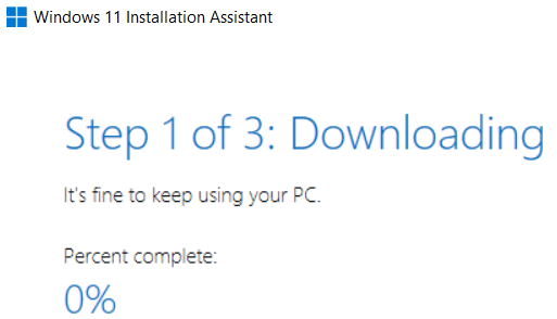 Installation Assistant downloading